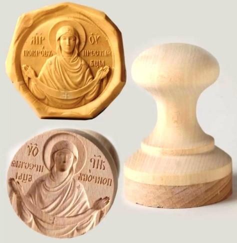 Печать для просфор «Покров Пресвятой Богородицы» и ее оттиск