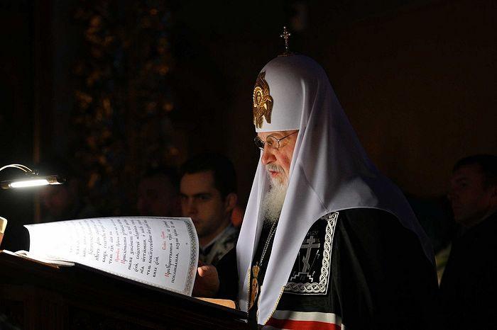 В четверг первой седмицы Великого поста Святейший Патриарх Кирилл совершил повечерие с чтением Великого канона прп. Андрея Критского в Донском монастыре