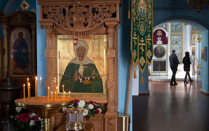 Икона Блаженной Матроны в храме Успения Пресвятой Богородицы села Себино. Фото Павла Смертина