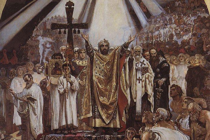 «Το βάπτισμα της Ρωσίας», τοιχογραφία του ζωγράφου Β.Μ.Βασνετσόβ στο Ιερό Ναό του Αγίου Βλαδίμηρου στο Κίεβο, 1896. Είχε προηγηθεί ο ομώνυμος πίνακας του 1890, που τώρα φυλάσσεται στην Κρατική Πινακοθήκη Τρετιακόβ στη Μόσχα.