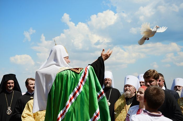 Ο Αγιώτατος Πατριάρχης Μόσχας και πάσης Ρωσίας κ.κ.Κύριλλος στο λόφο του Βλαδίμηρου στις γιορτές της 1025ετίας από τη Βάπτιση της Ρωσίας, 2013.