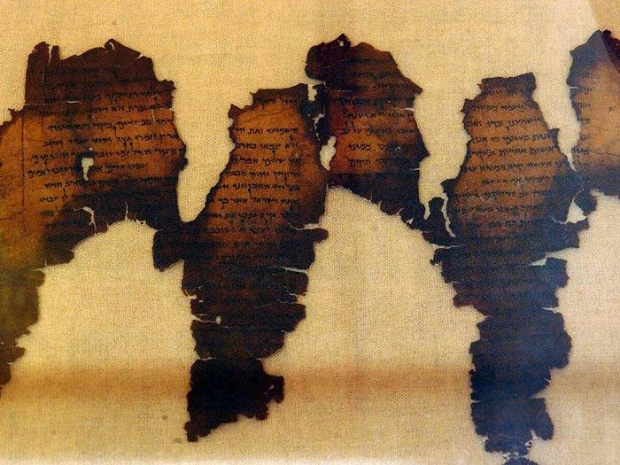 Fragments of the Dead Sea Scrolls, considered one of the greatest archeological discoveries of the 20th century, are displayed 18 June 2003 at Montreal's Pointe-a-Callieres Archeological Museum (Normand Blouin/AFP via Getty Images)