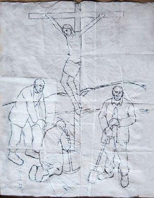 Рисунок к картине «Видение Христа на зоне», 1990