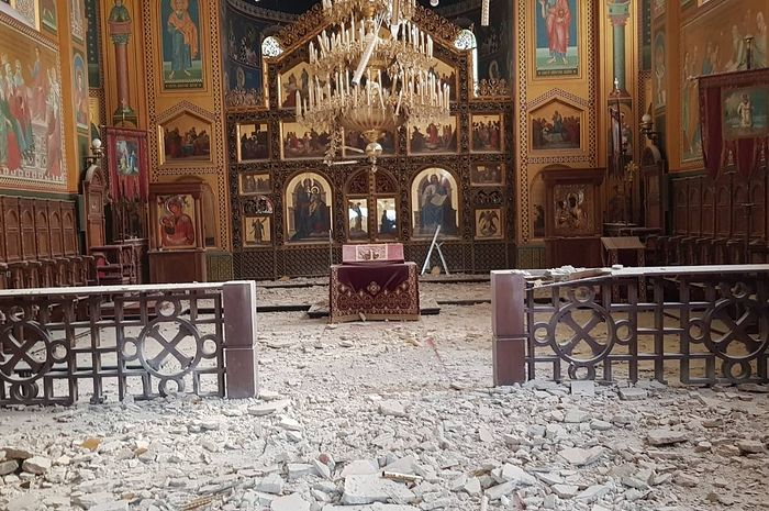 Храм Преображения Господня после землетрясения 22 марта 2020 г.