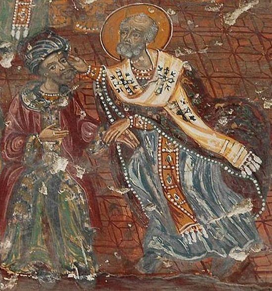 Святитель Николай Мир Ликийский в ходе I Вселенского Собора даёт пощёчину еретику Арию, обличая того в неправде