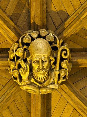 Потолочное рельефное украшение в честь свт. Патрика в англиканском соборе г. Арма (любезно предоставлено собором г. Арма)