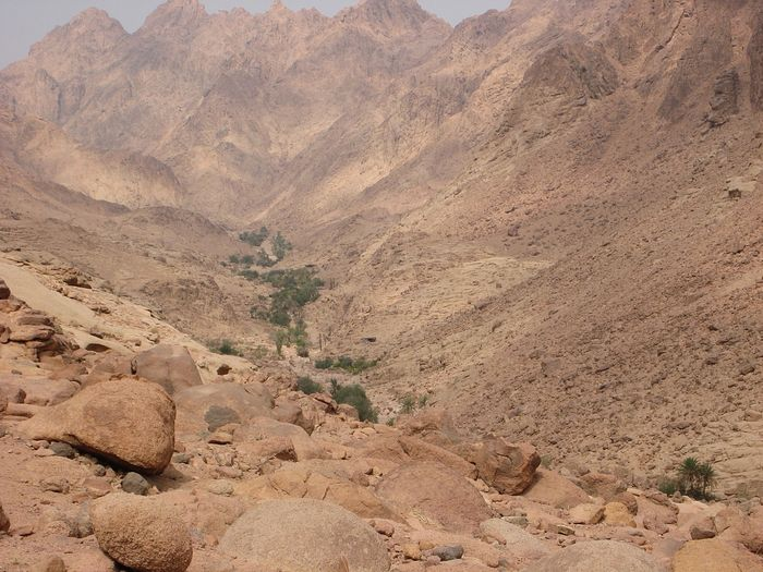 The valley where the cave of St. John Climacus is located on Mt. Sinai