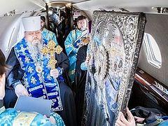 Глава Архангельской митрополии совершил воздушный крестный ход над Архангельской областью
