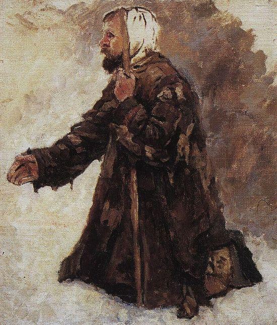 Нищий, стоящий на коленях. Художник: Василий Суриков