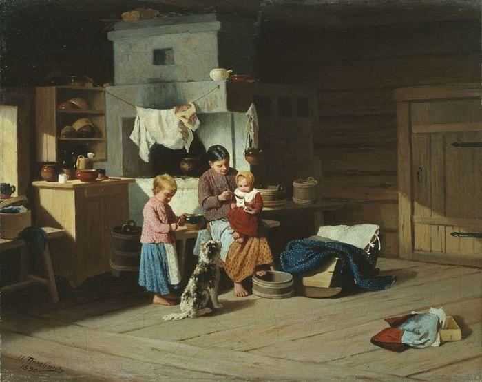 Кормление ребенка. Художник: Иван Андреевич Пелевин, 1890