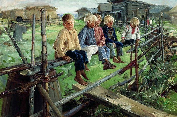 Воробьи, ребята на изгороди. Художник: Илларион Михайлович Прянишников