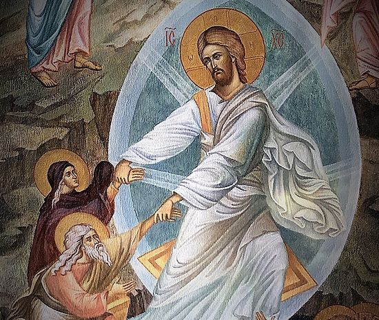 Η Ανάσταση του Χριστού. Τοιχογραφία της Εκκλησίας της Αναστάσεως του Χριστού και των Νέων Μαρτύρων και Ομολογητών της Ρωσικής Εκκλησίας. Η Ιερά Μονή Σρέτενσκι.