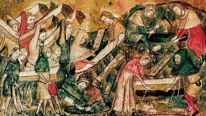 Похороны жертв чумы в Турне из Хроник Гилля Майзета, XIV век