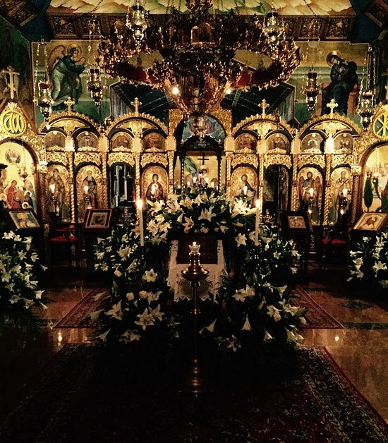 The church at St. Sabbas decorated for Holy Pascha