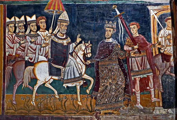 Константин I ведёт под уздцы коня, на котором восседает папа Сильвестр I — фреска капеллы Сан-Сильвестро в римском монастыре Санти-Куаттро-Коронати. До 1247 года