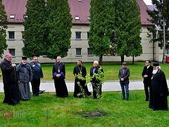 "Catholics, Uniates, Ukrainian schismatic plant ""unity"" tree at Catholic seminary"