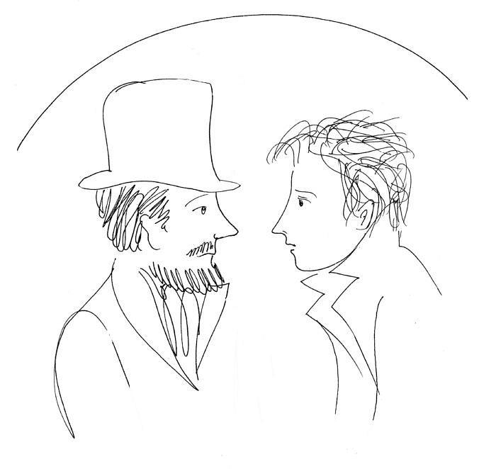 Ρασκόλνικοβ και Σβιντριγκάιλοβ. Σχέδιο από την Catherine Vatel