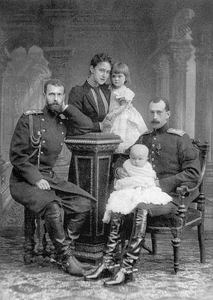 Grand Duchess Elisabeth Fedorovna with her niece Maria, her husband Grand Duke Sergei Alexandrovich and Grand Duke Paul with his son Dmitri.