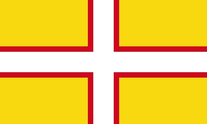 Флаг графства Дорсет - крест св. Виты