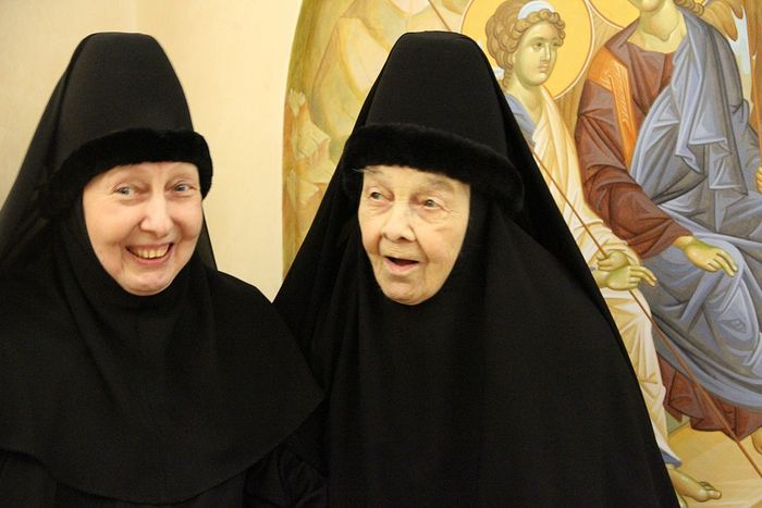 With her daughter, a nun
