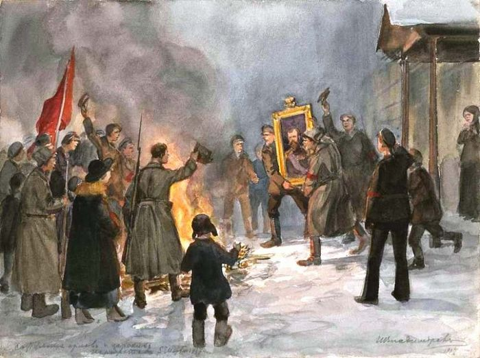 Revolutionaries burning the Tsar's portrait in 1917. Artist: Ivan Alekseevich Vladimirov (1869-1947)