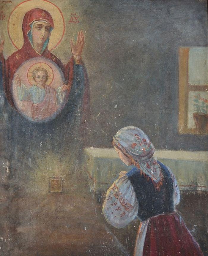 Спасская Л. Явление иконы «Знамение» Домне Остапчук. Конец 80-х гг.