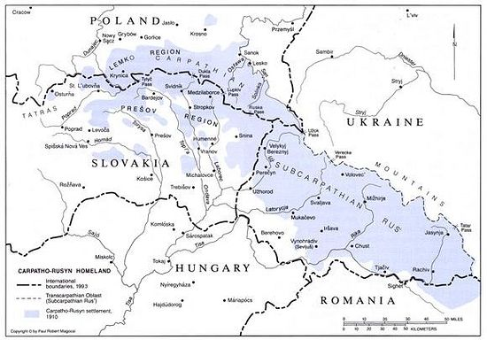 Rusyn lands shown in blue over a map of Eastern-Central Europe