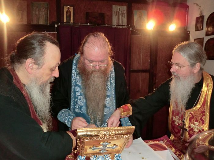 Preparing a reliquary with the relics of the Royal Family in the altar of the Cathedral of the Holy New Martyrs and Confessor of Russia and St. Nicholas the Wonderworker in Munchen. December, 2010.