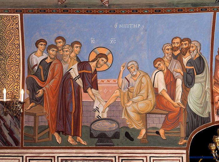 Christ Washing the Disciples' Feet. Fresco in the lower Church of the Three Holy Hierarchs at Kulishki, Moscow