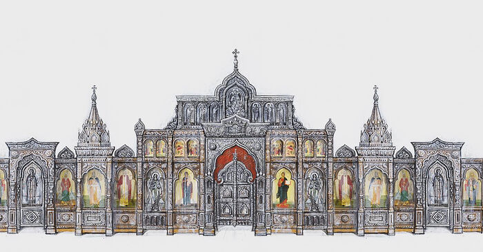 Design of the iconostasis of the Church of Holy Theotokos. Designer: Alexander Lavdansky; Moscow, 2019