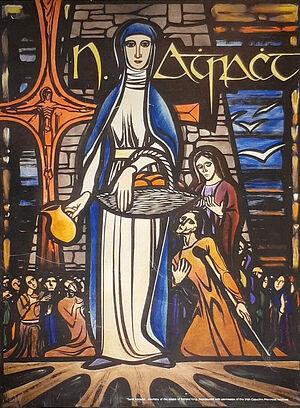 Репродукция витража св. Аттракты работы Ричарда Кинга (любезно предоставлено - Fr. Joseph, the Gurteen parish, Sligo)