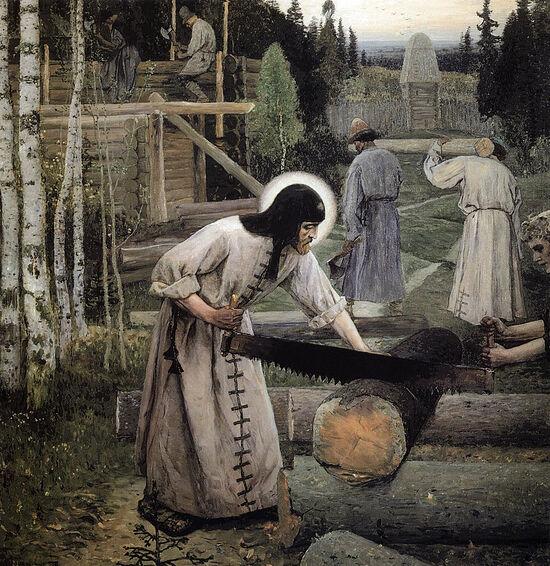 Artist Nesterov M.N. St. Sergius, laboring.