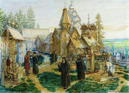 Artist Vasnetsov A.M. St. Sergius's monastery in his lifetime.