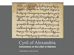 Lost Patristic work of St. Cyril of Alexandria discovered and published in Armenia