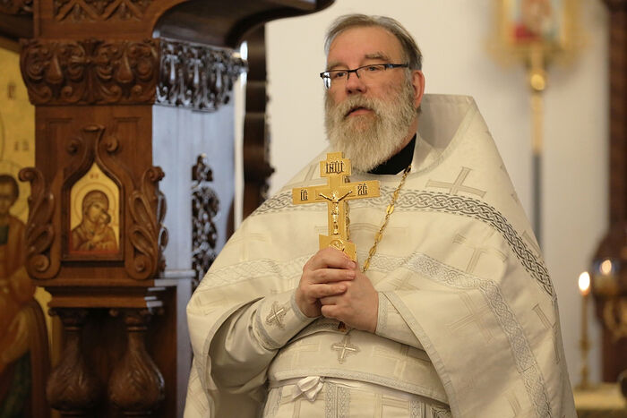 Hieromonk Constantine (Simon) Ph.D. delivering a sermon after liturgy. Father Constantine is known for his strict adherence to, and love for the Russian Orthodox liturgical tradition, on which he is a noted expert.