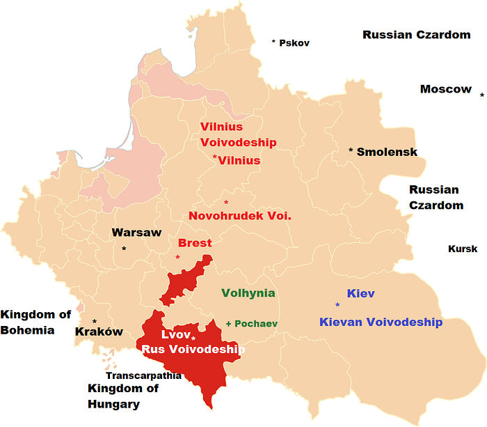 The Internal Provinces, also called Voivodeships or Palatinates of the Polish-Lithuanian Commonwealth. The Russian Palatinate or Województwo Ruskie, also called the Ruthenian Voivodeship with its capital Lvov is highlighted in red (Rus Voivodeship). The Belarusian territories incorporated into the Lithuanian portion of the Commonwealth such as Novohrudek and Brest are noted above in red text. The Capital Krakow is on the far left. The modern capitals of Poland and Ukraine, Warsaw and Kiev respectively are also noted. Father Constantine notes the Unia was initially stronger in Brest, Novohrudek, and the northern territories, whereas Lvov and Volhynia were known for strong Orthodox brotherhoods.