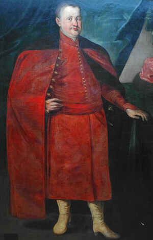 Konstanty Wasyl Ostrogski, one of the great champions of Orthodoxy in Poland-Lithuania depicted in extremely Polonized dress. His fathers' depictions also show the strong influence of Sarmatianism.