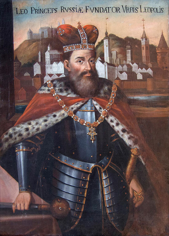 King Leo of Galicia, the namesake of the city of Lvov or Leopolis behind him. Note the title Princeps Russiae, and his dress, which although is anachronistic, reflects the Westernized trend in Galicia; whereas some Cossack dress was very influenced by Sarmatianism or even more outright local Turkic customs.