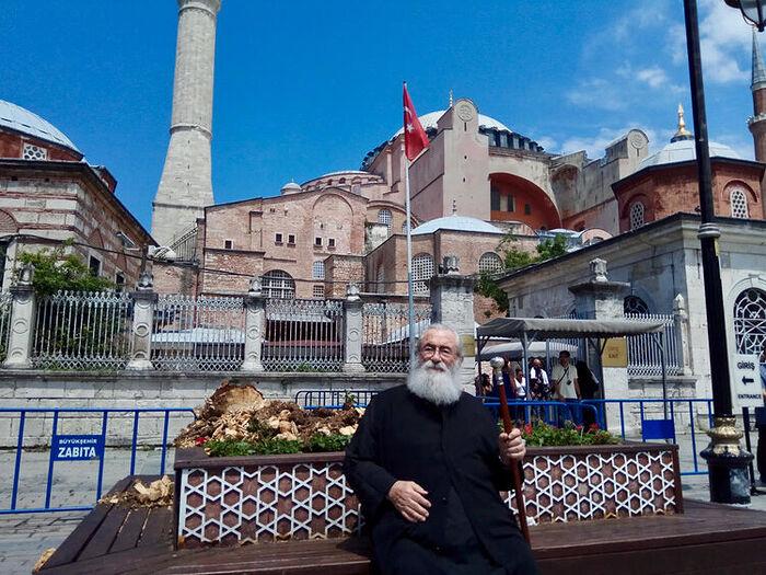 Archbishop Damianos in front of Hagia Sophia 2018.