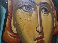 Icon of St. Paraskeva streaming myrrh in Greek village