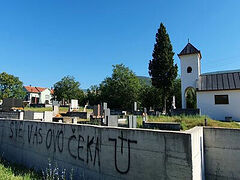 Nazi graffiti painted on Serbian church fence in Bosnia