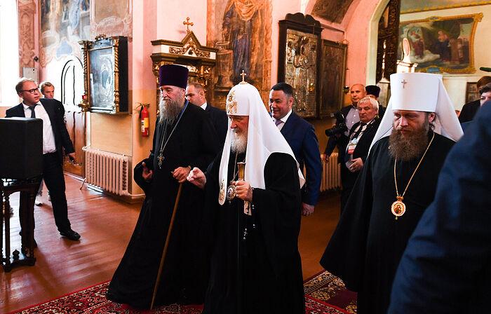 Во время визита в Торжок Святейшего Патриарха Московского и всея Руси Кирилла, 21 июля 2019 г.