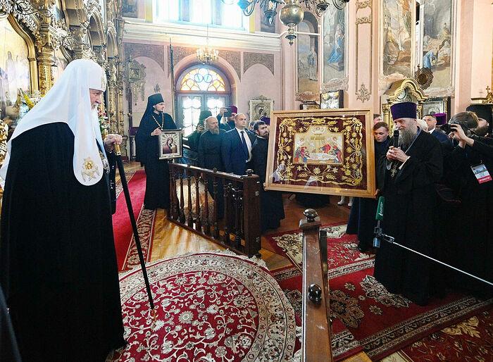 Святейший Патриарх Московский и всея Руси Кирилл в Благовещенском храме во время своего визита в Торжок 21 июля 2019 г.