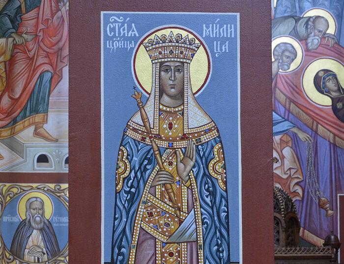 Фреска в храме Покрова Пресвятой Богородицы в сербском монастыре Новая Грачаница, США