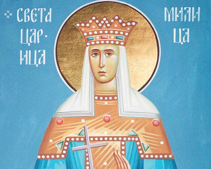 Святая царица Милица. Современная фреска в монастыре Шудикова. Черногория