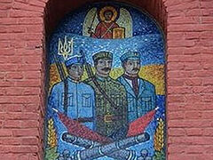 Ukrainian Uniates display mosaic of armed insurgent soldiers over church