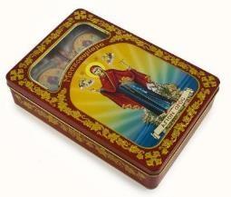 Ладан в жестяной коробке с изображением Афонской иконы Божией Матери