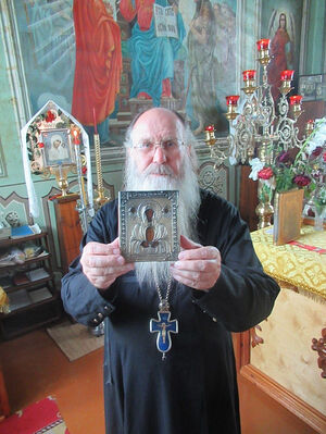 "Archimandrite Vladimir (Naumov) with the icon, ""The Word Was Made Flesh""."