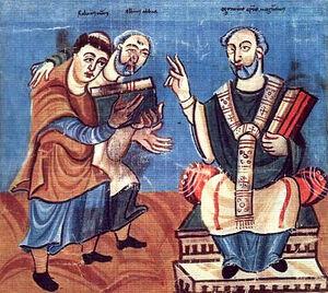 Рабан Мавр (слева) и Алкуин (в центре) подносят свои книги епископу Отгару Майнцскому