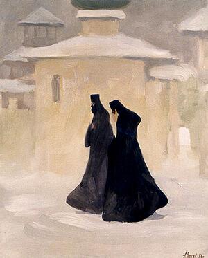 Два монаха. Художник: Александр Заварин